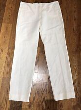 NWT $475 JEREMY LAING  Ivory Linen Cotton Back Belt Ankle Pants Trousers 6