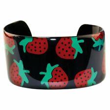 Black Strawberry Design Copper and Enamel Cuff Bangle - Funky Festival