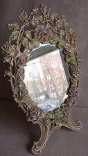 Table Mirror Cast Iron Enamel HEAVY DRESSING Frame Vanity Roses Wreath