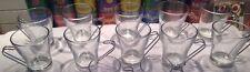 10 glass Vitrosax Italy Oslo coffee cappuccino cups glasses w/ metal handles