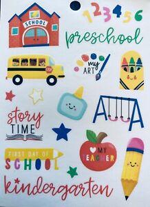 Fun Preschool Kindergarten Elementary School Scrapbook Clear Back Stickers