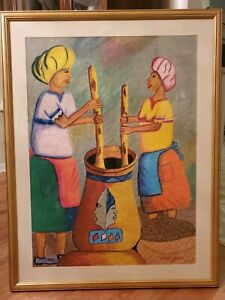 FOLK ART PAINTING PASTEL LADIES COOKING MARY MOENG FRAMED IN DC
