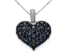 1.05 quilates Natural Azul Zafiro Corazón Colgante Collar en Sterling Silve 5