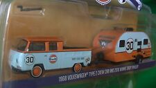 GREENLIGHT HITCH & TOW V-DUB MIJO EXCLUSIVE 68 VW TYPE 2 CREW CAB GULF IN STOCK