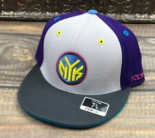 New York Knicks Fitted Flat Brim Hat Reebok NBA Kolors Gray Purple Blue 7 3/8
