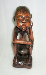Antique Old Rare Hand Carved Wooden Primitive African Tribal Man Figure Folk Art