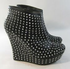 "NEW LADIES Black Stars 5""High Wedge 1.5""Platform Sexy Ankle Boots Size 5.5"