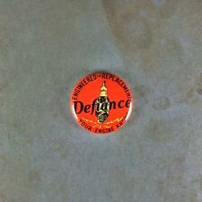 "Vintage Style Advertising Art Pinback Button  1"" Defiance  Spark Plug Lightning"