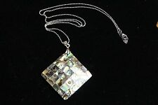 Paua Shell Abalone Inlay Diamond Square Pendant 18KT Gold Plated Necklace 18 in