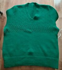 Pure wool hand knitted V neck dark green women's jumper.Size 12.New