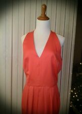 Solid Orange-Red plunge knee-length pencil pinup sleeveless cocktail dress NWOT
