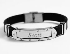 SCOTT - Mens Bracelet With Name - Silver Tone With Frame - Name Plate Birthday