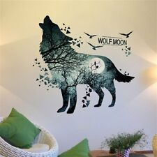 Silhouette Wall Sticker Forest Moon Night Wolf Sofa Wallpaper Home Decor GA