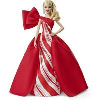 NEW Mattel Barbie 2019 Holiday Doll Blonde Curls with Red & White Gown Girls