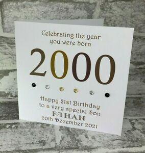 "21st 2000 Year You Were Born Birthday 6"" Card Personalised Son Nephew Brother"