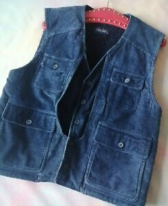 Vintage Blue corduroy lined utility multi pocket vest jacket gilet M