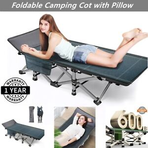 Camping Patio Portable Sleeping Folding Bed Cot Travel with 4D Pillow+Carry Bag