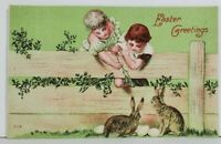 Easter Greetings Children Playing with Bunnies Postcard N12