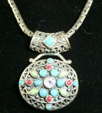 "Vintage Turkish Sterling Silver 925 Necklace 22"" Multi Stone Inlaid Pendant"
