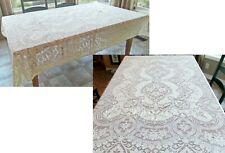 STUNNING Vintage QUAKER LACE Tablecloth DAISY FLORAL 60x 75 CREAM Bed Coverlet