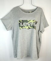 Levi's Women's Gray Camping Camo Logo T-shirt Top Plus Size 1X NWT