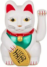 MANEKI-NEKO JAPANESE NOVELTY WHITE AND RED LUCKY WAVING CAT LARGE ORNAMENT NEW