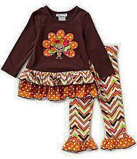 Bonnie Baby Baby Girls 3-6 Months Thanksgiving Turkey Applique Top & Leggings