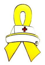 Liver Bladder Cancer Spina Bifida New Yellow Ribbon Nurse Cap Pin Red Cross