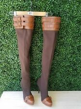 Report Signature Winston Brown Leather Jersey Over the Knee Platform Boots 8
