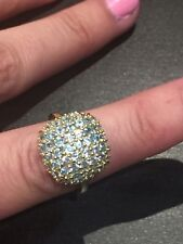 9k Gold On Sterling Silver Pariba Apatite Cocktail Ring Size P