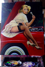 Estate Sale ELVGREN HELP WANTED Original Painting Mercedes SL PinUp Stockings