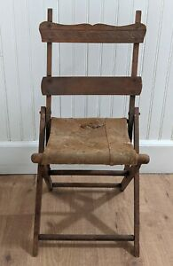 Vintage Antique Victorian Child's Folding Tapestry Carpet Chair  Doll Bear