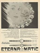 Publicité Advertising 1966  Montre ETERNA MATIC Sahida  bijoux collection