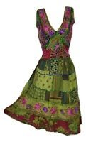 Midi Patchwork Summer Dress Embroidered Festival Henna Green Size 10 12 14 16