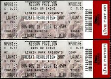 Linkin Park Tickets 2 Rare Unused Projekt Revolution Aug 19th 2007 Bristow VA