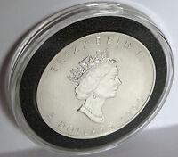 1990 QUEEN ELIZABETH .9999 FINE SILVER VINTAGE CANADA MAPLE LEAF COIN 1 TROY OZ