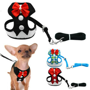 Cute Bowtie Pet Dog Harness and Leash Mesh Puppy Vest for Chihuahua Yorkie Pug