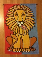 Vintage Ulster Linen Tea Towel Wall Hanging Lion with Union Jack Flag Ireland