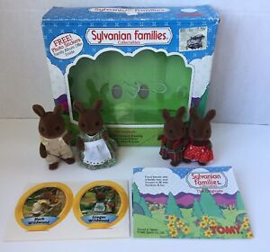 Vintage Sylvanian Families Calico Critters WILDWOOD FAMILY Brown Bunny Rabbits