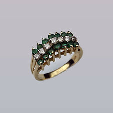 Emerald & Diamond Pyramid Ring - 1.07ct Total Weight