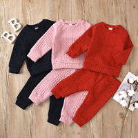Toddler Baby Girls Boys Clothes Knit Sweater Top Pants Tracksuit Outfit  Casual