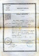 1878 Congé définitif, signé par le général de Brigade