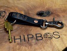 HipBos Handmade Leather Keyring Belt Loop Key Fob Key Chain Black