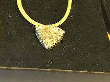 """Pizza Slice TG161 English Pewter On 18"""" Yellow Cord Necklace"""