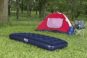 Inflatable Sleeping Sofa Single Flocked Air Bed Matress Guest Camping Hiking New