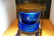 Vintage brass blue glass ship light, very good condition, no light socket.