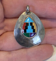 Native American Sterling & Inlaid Multi Stone Pendant Signed C C