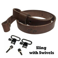 "Cowhide Leather Rifle Sling Gun Strap 4.0mm Padded Shooting Hunting_ 1"" Swivels"