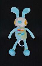 Peluche doudou lapin beige musical BAWI bleu vert broderie 29/37 cm TTBE
