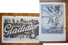 "1973 PRINT/POSTER/AD~1900 GLADIATOR BICYCLES~1892 BINGHAM BICYCLES~16""x11"""